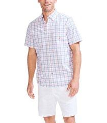 nautica men's big & tall plaid poplin shirt