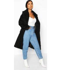petite longline double breasted faux teddy coat, black