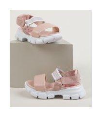 sandália papete infantil molekinha flatform com velcro rosa