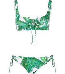 noire swimwear jungle printed crop top bikini - white