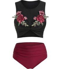 flower embellished twist front padded tankini set