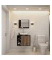 conjunto para banheiro gabinete com cuba folha l38 e espelheira soft 600 preto ônix com nogal