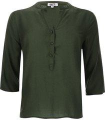 blusa unicolor color verde, talla m