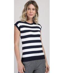 blusa de tricô feminina muscle tee listrada decote redondo preto
