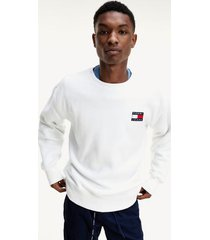 tommy hilfiger men's polar fleece badge sweatshirt white - s