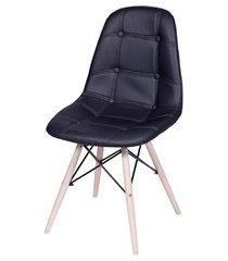 cadeira eames botonê com base em madeira 43x44cm preta