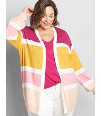 lane bryant women's open-front striped cardigan 26/28 multi stripe