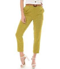 pantalon para mujer en jackard verde color-verde-talla-6