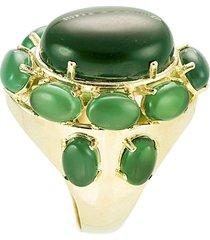 anel banho de ouro com pedra jade oval