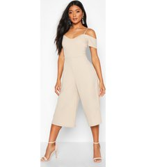 off the shoulder culotte jumpsuit, stone