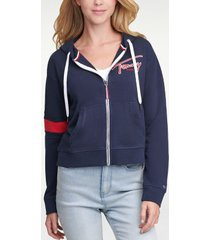tommy hilfiger women's signature zip hoodie sky captain - xxs