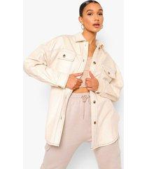 oversized jaren '90 corduroy blouse met contrasterende stiksels, ecru