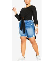 city chic trendy plus size simple knot top