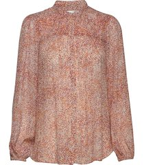 floral ls shirt blouse lange mouwen oranje second female
