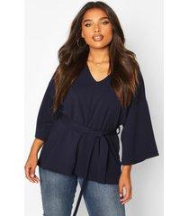 plus woven kimono sleeve tie top, navy