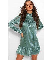 gesmokte jurk met satijnen pofmouwen met gekleurde dieren, blauwgroen