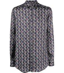 dolce & gabbana diamond circle pattern shirt - blue
