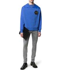 balmain b embroidered slim jeans-acid grey