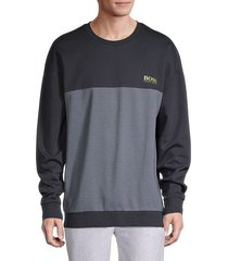 boss hugo boss men's tracksuit cotton-blend sweatshirt - blue - size xl