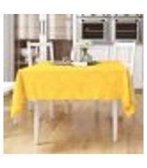 toalha de mesa amarela medalhão lisa quadrada 1,40m x 1,40m tecido jacquard