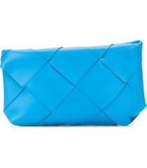 bottega veneta large maxi intrecciato clutch bag - blue
