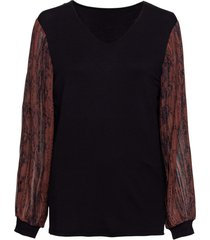 maglia con maniche lunghe in chiffon (marrone) - bodyflirt