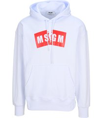 msgm broken logo-print hoodie