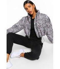leopard print crop puffer jacket, multi