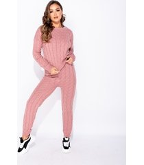 jumpsui parisian cable knit long sleeve top legging lounge set -