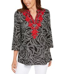 charter club petite embroidered split-neck tunic, created for macy's