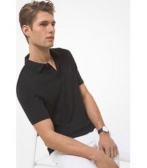 mk polo in cotone - nero (nero) - michael kors