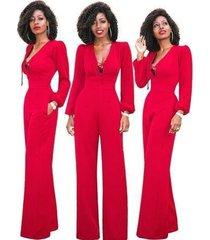 monos elegantes de otoño de moda mujeres de pierna-rojo
