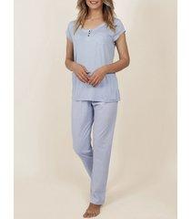 pyjama's / nachthemden admas innerwear pyjama t-shirt broek fris en zacht blauw adma's