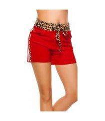 trendy shorts met contrast strepen rood