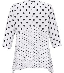 blouse met 3/4-mouwen en stipdessin van samoon wit
