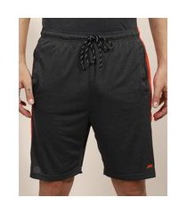 bermuda masculina esportiva ace com faixa lateral cinza mescla escuro 1