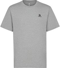 embroidered star chev left chest t white t-shirts short-sleeved grå converse