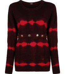 chanel pre-owned 2000s tie-dye belted cashmere jumper - red