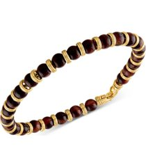 esquire men's jewelry red tiger eye bead bracelet in 14k gold-plated sterling silver, created for macy's