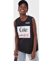 regata coca-cola jeans lettering preta - preto - feminino - algodã£o - dafiti