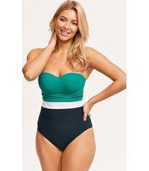colourblock underwire bandeau tummy control one-piece swimsuit b-g