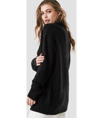 linn ahlborg x na-kd chunky oversized polo dress - black