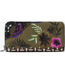 coin wallet patch with raffia and floral - black - u