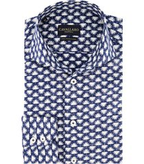 cavallaro overhemd donkerblauw patroon