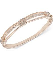 anne klein rose gold-tone crystal hinge bracelet
