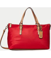 tommy hilfiger women's solid zipper shopping tote tommy red -