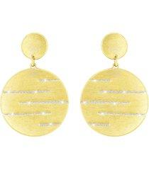 orecchini in ottone dorato e glitter per donna