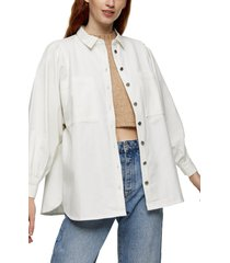women's topshop casual button-up shirt, size 10 us - ivory