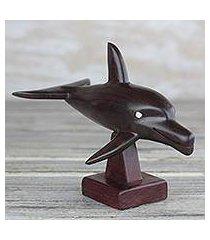 ebony wood sculpture, 'bottlenose dolphin' (ghana)