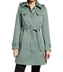 women's via spiga belted water repellent trench coat, size small - blue